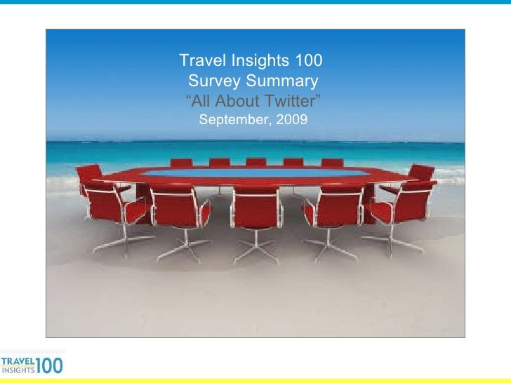 "Travel Insights 100  Survey Summary "" All About Twitter"" September, 2009"