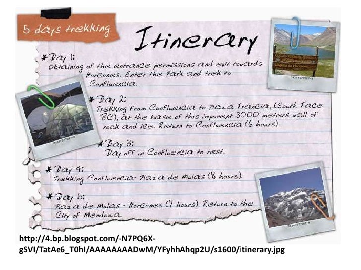 travel itinerary sample