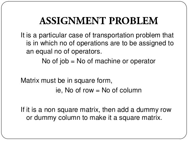 types of assignment problem