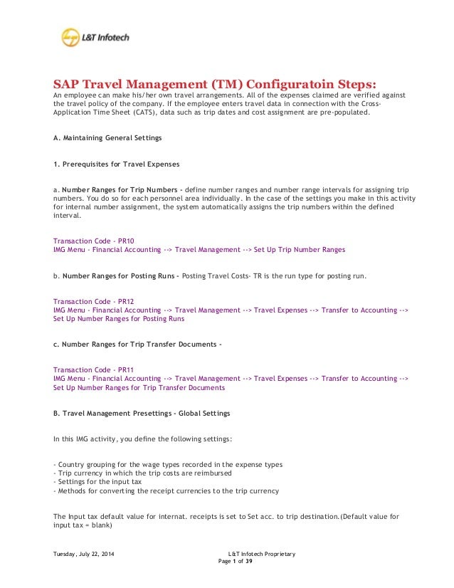 Travel Management Configuration Steps