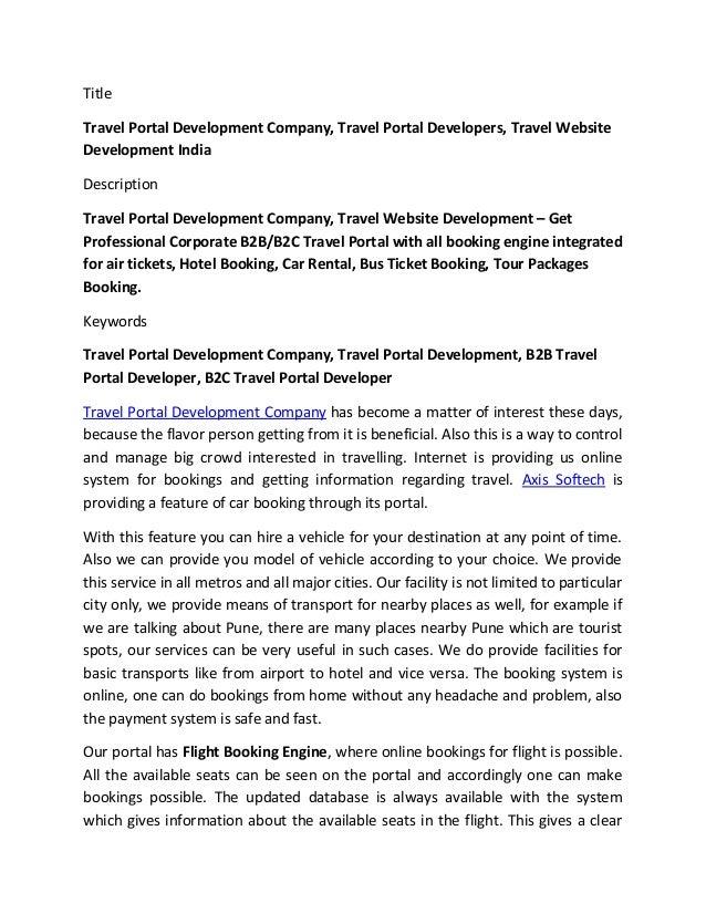 Travel Portal Development Company, B2B-B2C Travel Portal Development …