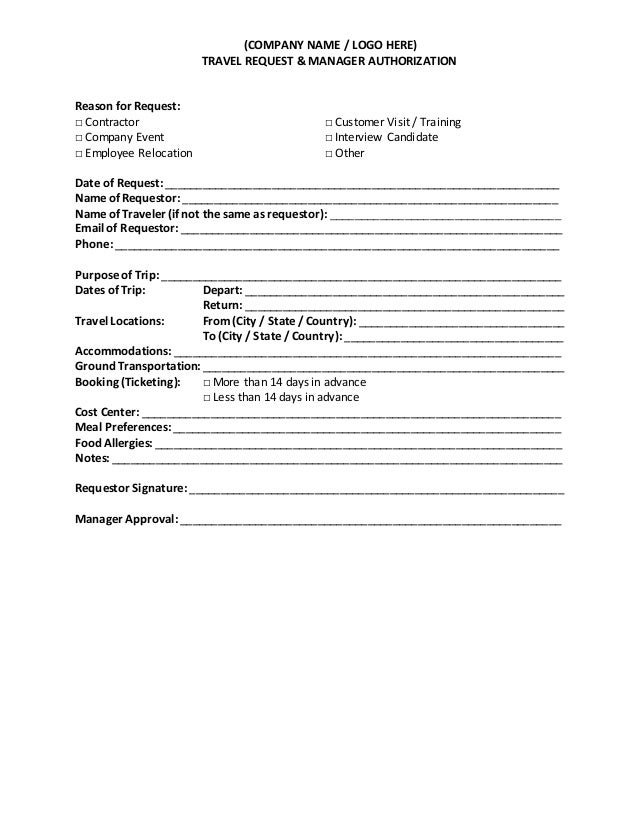 Travel Request And Authorization Form Template