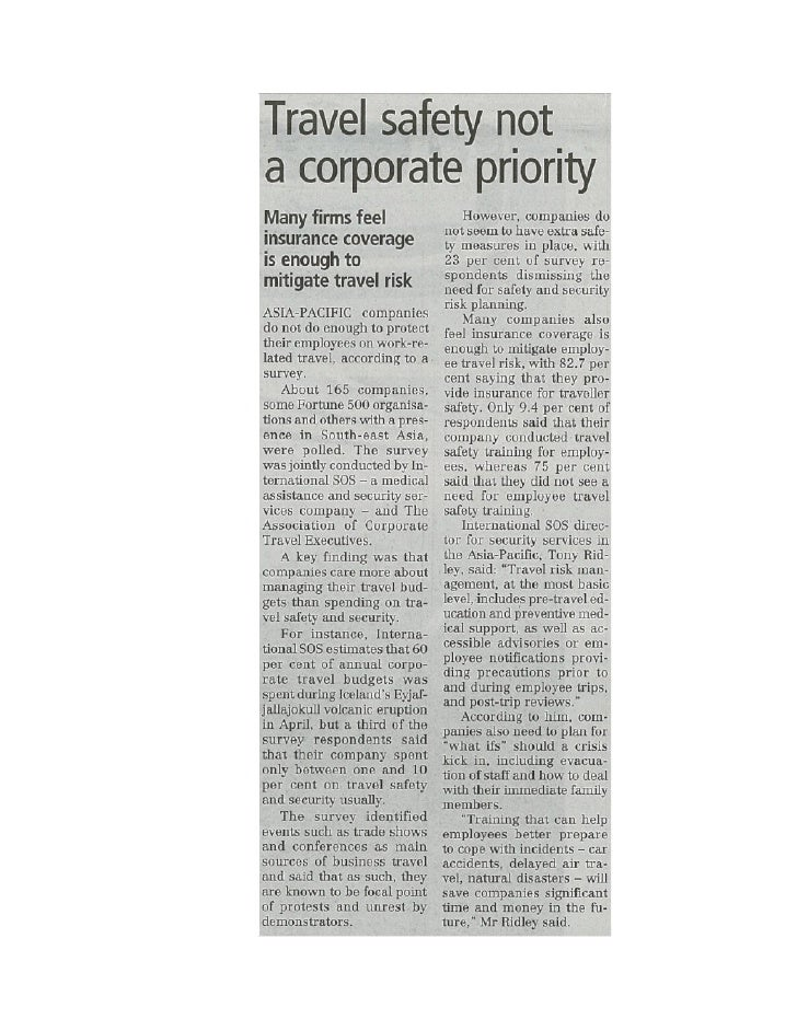Travel safety not a corporate priority.business times.9 sep 2010