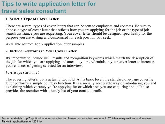 Travel sales consultant application letter