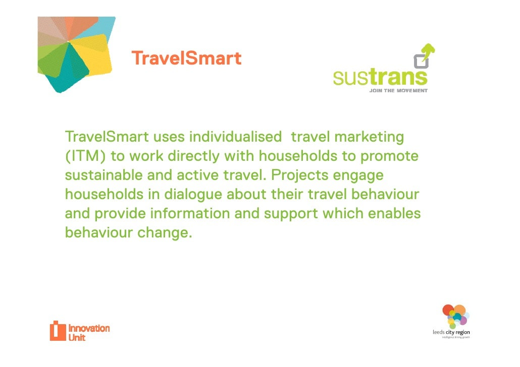 TravelSmartyour projectTravelSmart uses individualised travel marketing  a eS a            d dua sed a e a e g(ITM) to wor...
