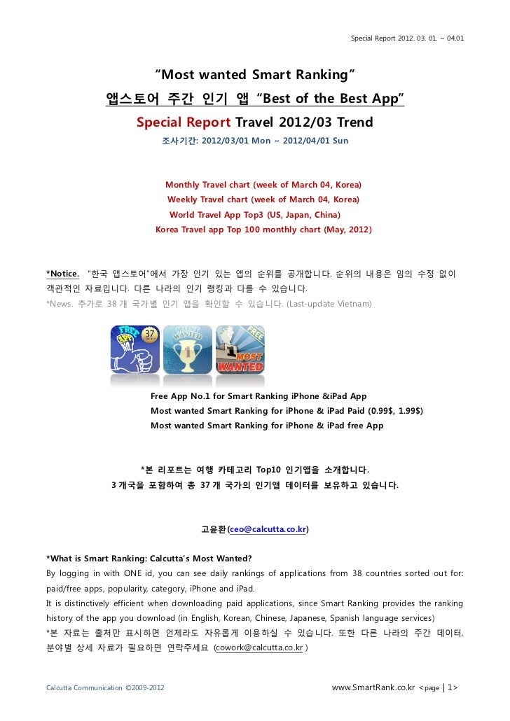 """Special Report 2012. 03. 01. ~ 04.01                              """"Most wanted Smart Ranking""""                앱스토어 주간 읶기 앱 ..."""