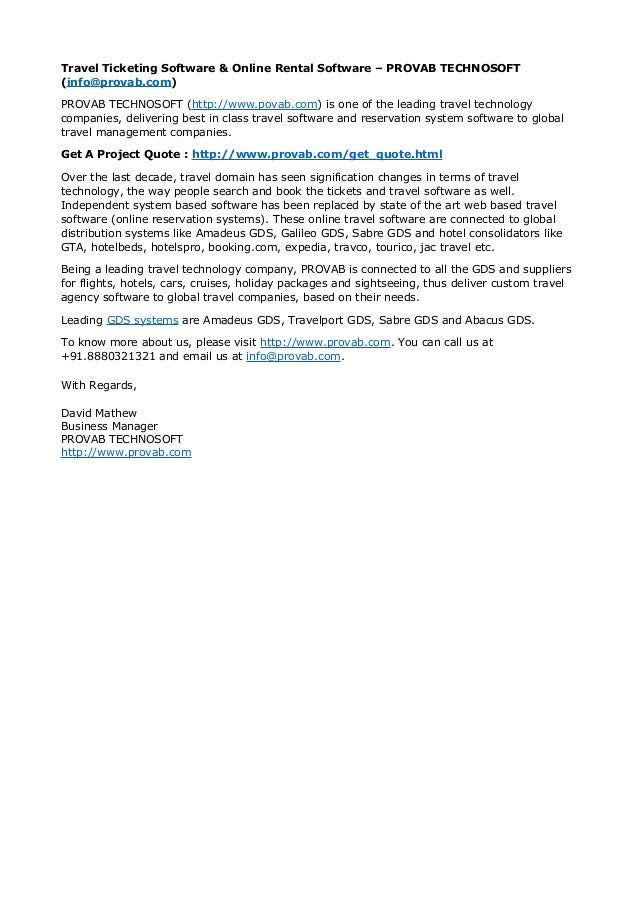 Travel Ticketing Software & Online Rental Software – PROVAB TECHNOSOFT  (info@provab.com)  PROVAB TECHNOSOFT (http://www.p...
