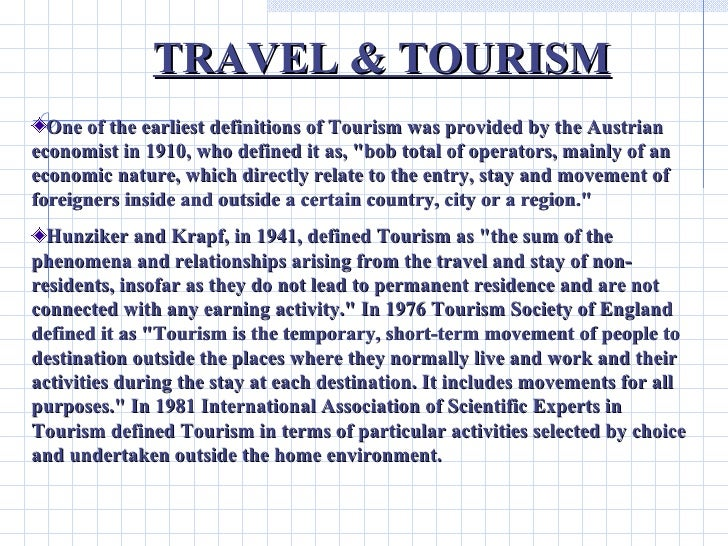 travel and tourism speech