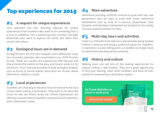 10 Travel Trend Report 2019 Top experiences for 2019 Tour operators are now receiving requests for unique experiences from...