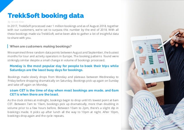 11 Travel Trend Report 2019 TrekkSoft booking data In 2017, TrekkSoft processed over 1 million bookings and as of August 2...