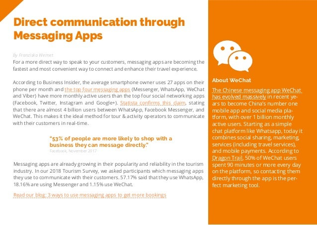 25 Travel Trend Report 2019 Direct communication through Messaging Apps By Franziska Wernet For a more direct way to speak...
