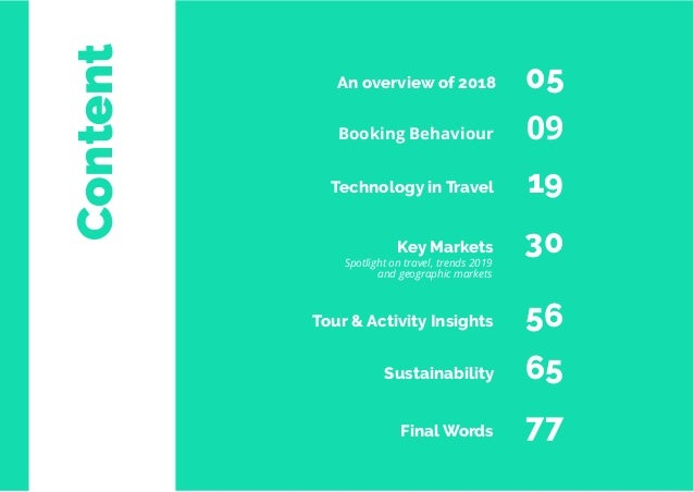 4 Travel Trend Report 2019 Content Booking Behaviour 09 Technology in Travel 19 Key Markets 30 Tour & Activity Insights 56...