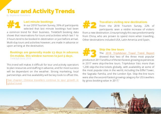 57 Travel Trend Report 2019 Tour and Activity Trends By Stephanie Kutschera Bookings are generally made 13 days in advance...