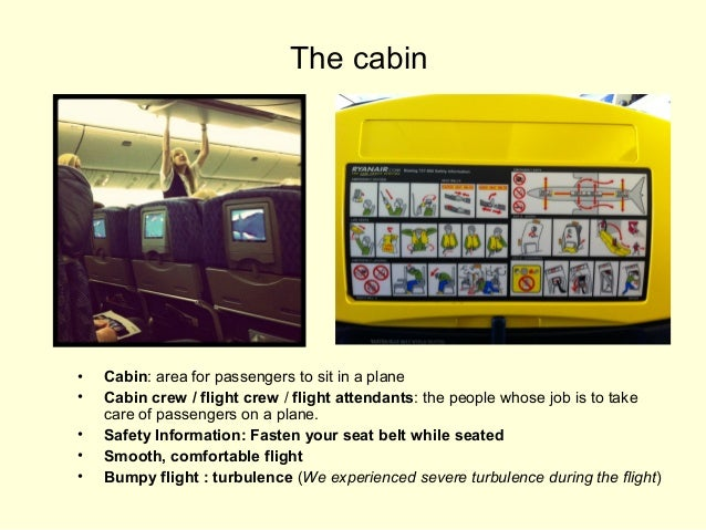 The cabin  • • • • •  Cabin: area for passengers to sit in a plane Cabin crew / flight crew / flight attendants: the peopl...