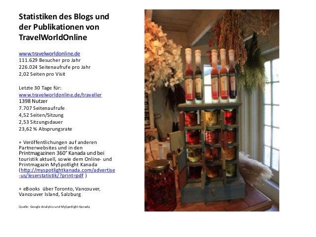 Statistiken des Blogs und der Publikationen von TravelWorldOnline www.travelworldonline.de 111.629 Besucher pro Jahr 226.0...