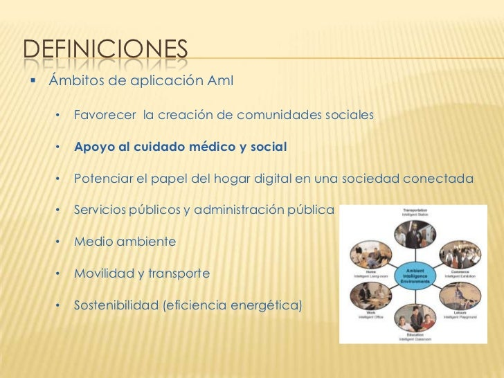 DEFINICIONES Ámbitos de aplicación AmI   •   Favorecer la creación de comunidades sociales   •   Apoyo al cuidado médico ...