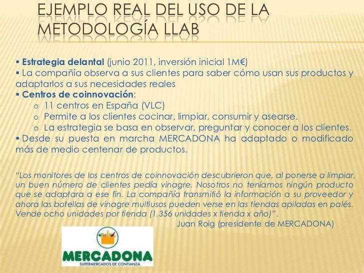 EJEMPLO REAL DEL USO DE LA     METODOLOGÍA LLAB Estrategia delantal (junio 2011, inversión inicial 1M€) La compañía obse...
