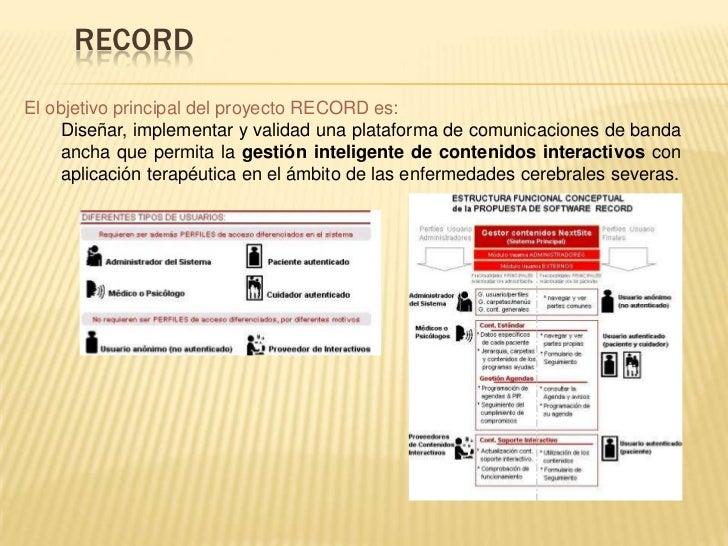 RECORDEl objetivo principal del proyecto RECORD es:     Diseñar, implementar y validad una plataforma de comunicaciones de...
