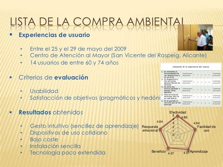 LISTA DE LA COMPRA AMBIENTAL Experiencias de usuario    •   Entre el 25 y el 29 de mayo del 2009    •   Centro de Atenció...