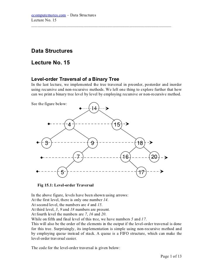 e computer notes - Traversal of a binary tree