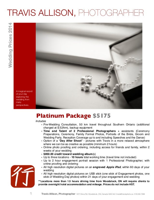 Platinum Package $5175 A magical record of your day exploring the wedding from many perspectives. Includes! • Pre-Wedding ...