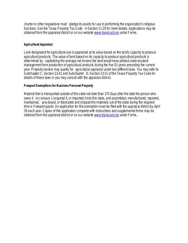 Traviscad General Exemption Information