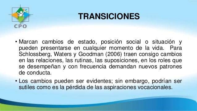 TRANSICIONES • Marcan cambios de estado, posición social o situación y pueden presentarse en cualquier momento de la vida....