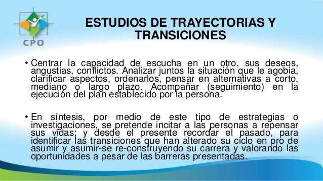 ESTUDIOS DE TRAYECTORIAS Y TRANSICIONES • Centrar la capacidad de escucha en un otro, sus deseos, angustias, conflictos. A...