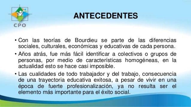 ANTECEDENTES • Con las teorías de Bourdieu se parte de las diferencias sociales, culturales, económicas y educativas de ca...