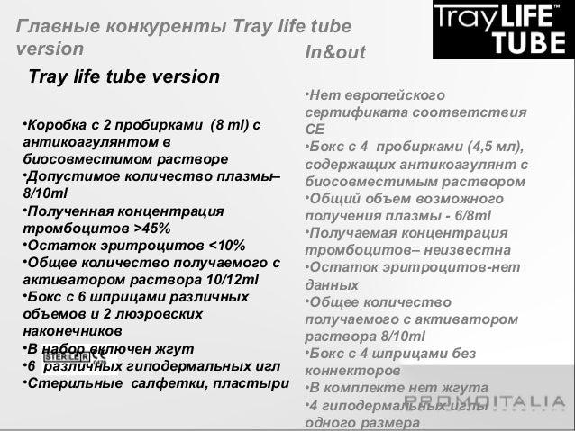 Main competitors of Tray life tube version  Tray life tube version  •Коробка с 2 пробирками (8 ml) с  антикоагулянтом в  б...