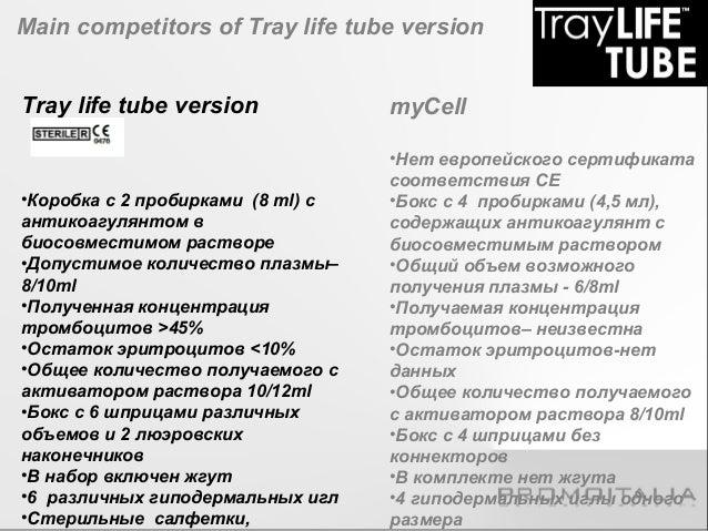 Main competitors of Tray life tube gel version  Tray life tube gel version  •Коробка с 2 пробирками (8 ml) с  антикоагулян...