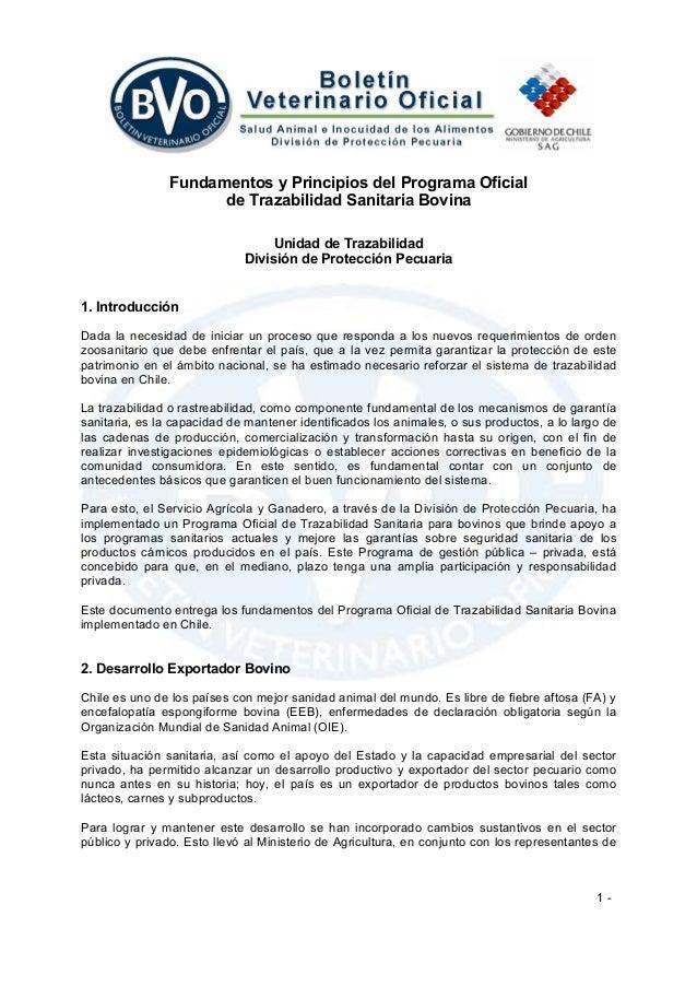 1 - Fundamentos y Principios del Programa Oficial de Trazabilidad Sanitaria Bovina Unidad de Trazabilidad División de Prot...
