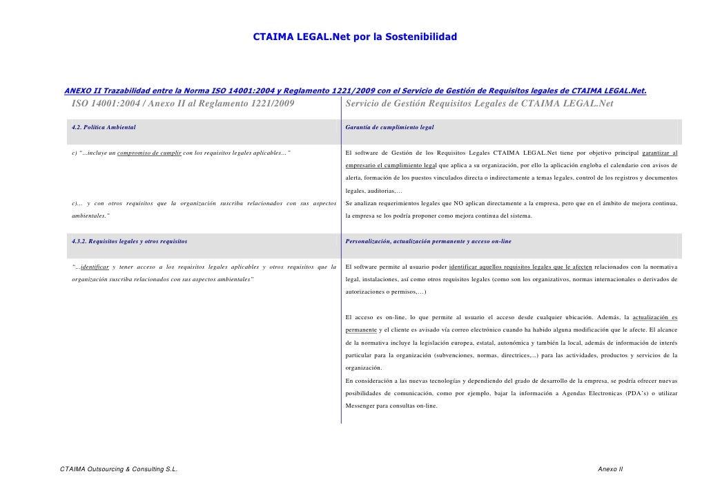 CTAIMA LEGAL.Net por la Sostenibilidad ANEXO II Trazabilidad entre la Norma ISO 14001:2004 y Reglamento 1221/2009 con el S...