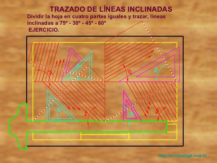 Trazado de líneas hori, vert, e inclinadas