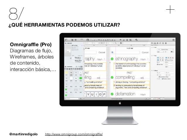 @martinredigolo 8/¿QUÉ HERRAMIENTAS PODEMOS UTILIZAR? http://www.omnigroup.com/omnigraffle/ Omnigraffle (Pro) Diagramas de flu...