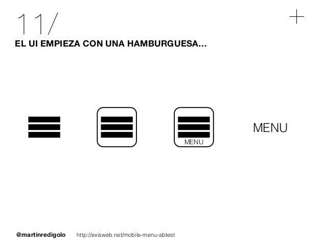 @martinredigolo 11/EL UI EMPIEZA CON UNA HAMBURGUESA… MENU http://exisweb.net/mobile-menu-abtest MENU