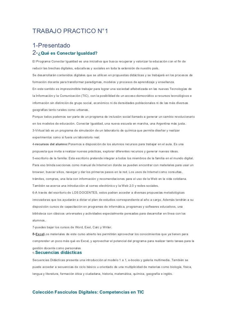 TRABAJO PRACTICO N°11-Presentado2-¿Qué es Conectar Igualdad?El Programa Conectar Igualdad es una iniciativa que busca recu...