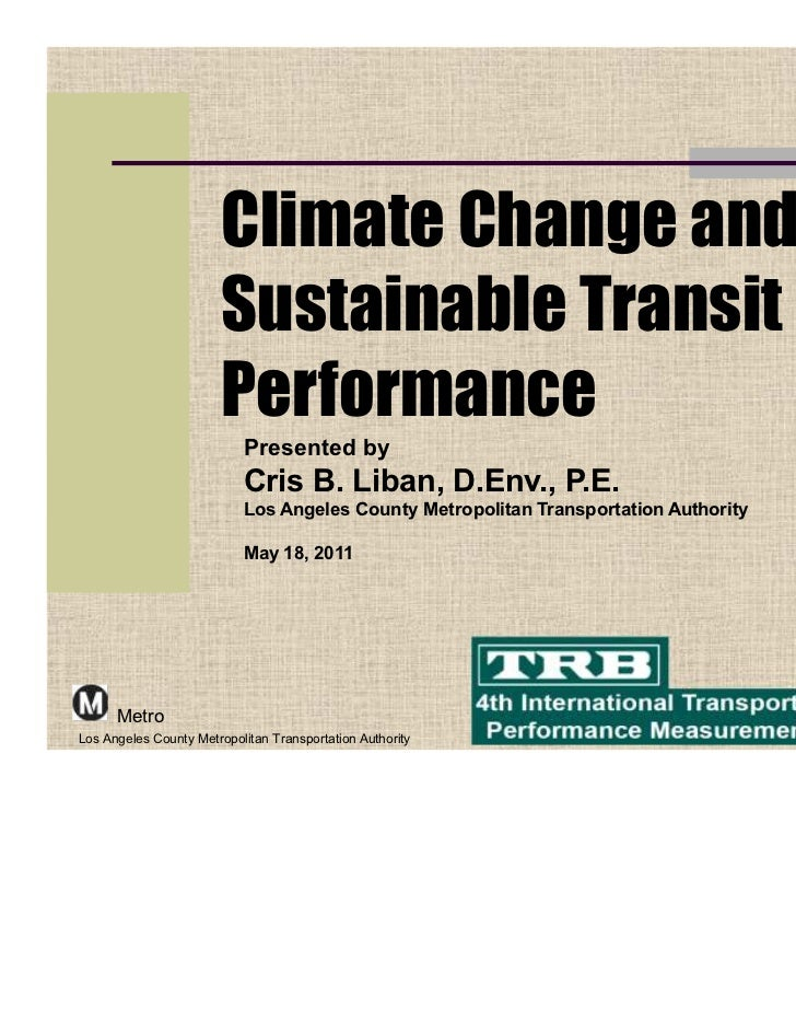 Climate Change and                        Sustainable Transit                        Performance                          ...