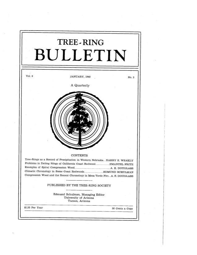 TREE - RING  JANUARY,  1940  A Quarterly  CONTENTS Tree—Rings as a Record of Precipitation i. n Western Nebraska. i.. HARR...