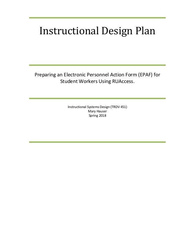 Instructional Design Plan Idp For Trdv 451 Spring 2018
