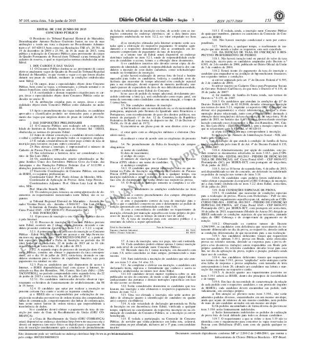 Nº 105, sexta-feira, 5 de junho de 2015 151ISSN 1677-7069 EXEMPLAR DE ASSINANTE DA IMPRENSA NACIONAL Este documento pode s...