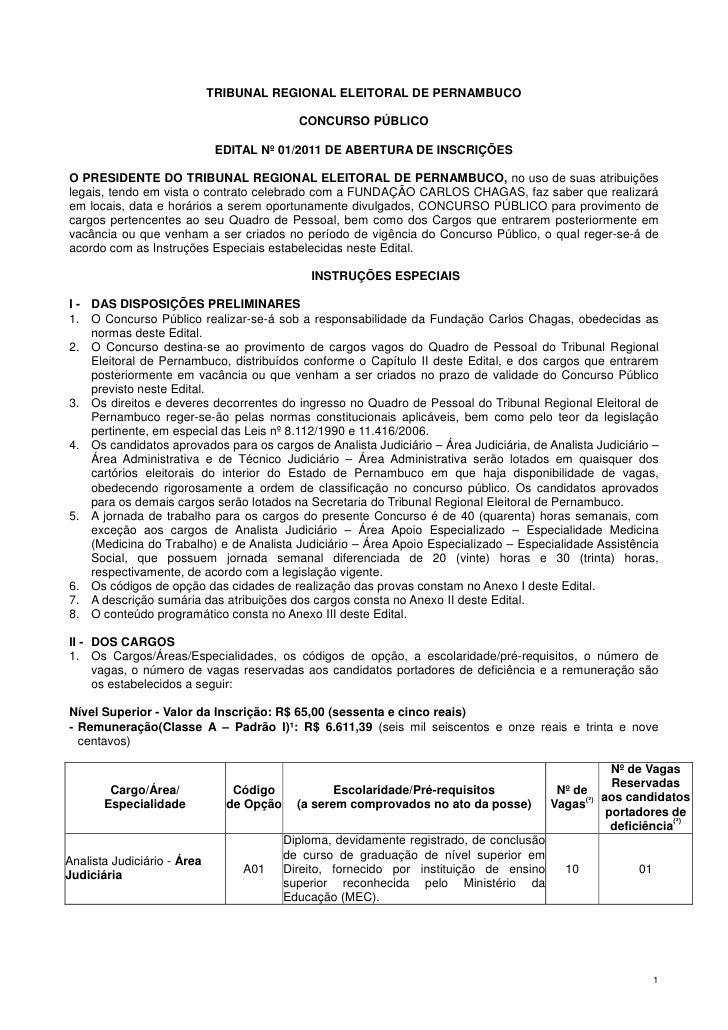 TRIBUNAL REGIONAL ELEITORAL DE PERNAMBUCO                                            CONCURSO PÚBLICO                     ...
