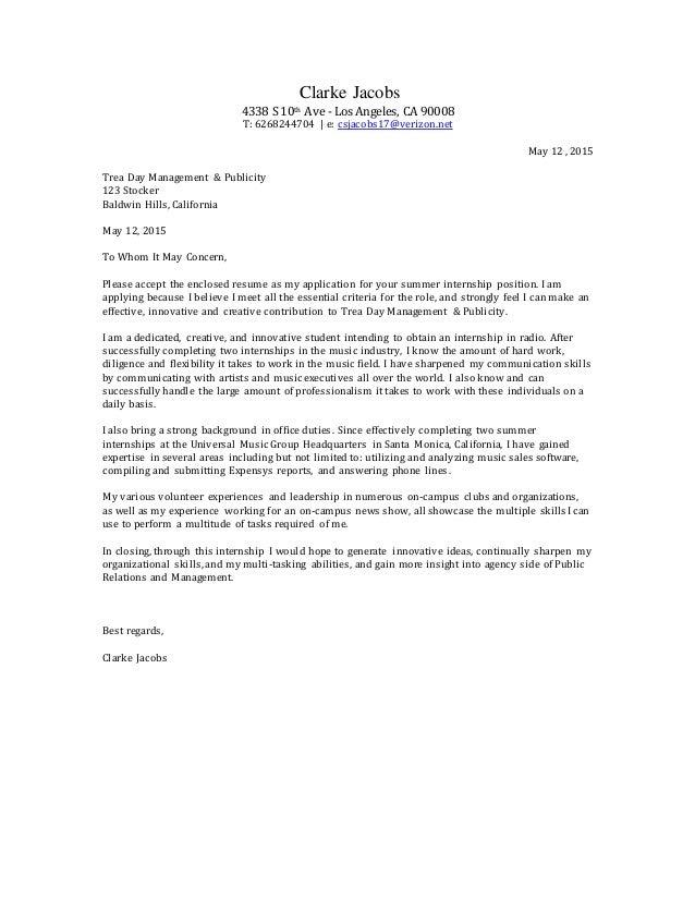 Trea Day Cover Letter