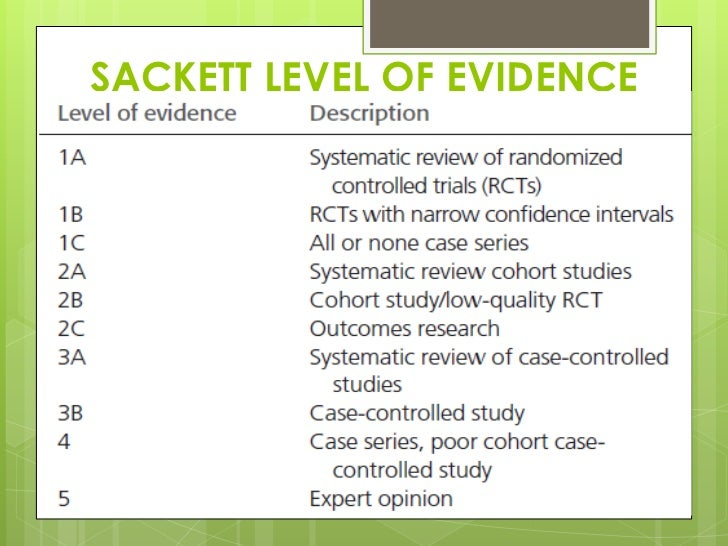 Image result for sackett's level of evidence