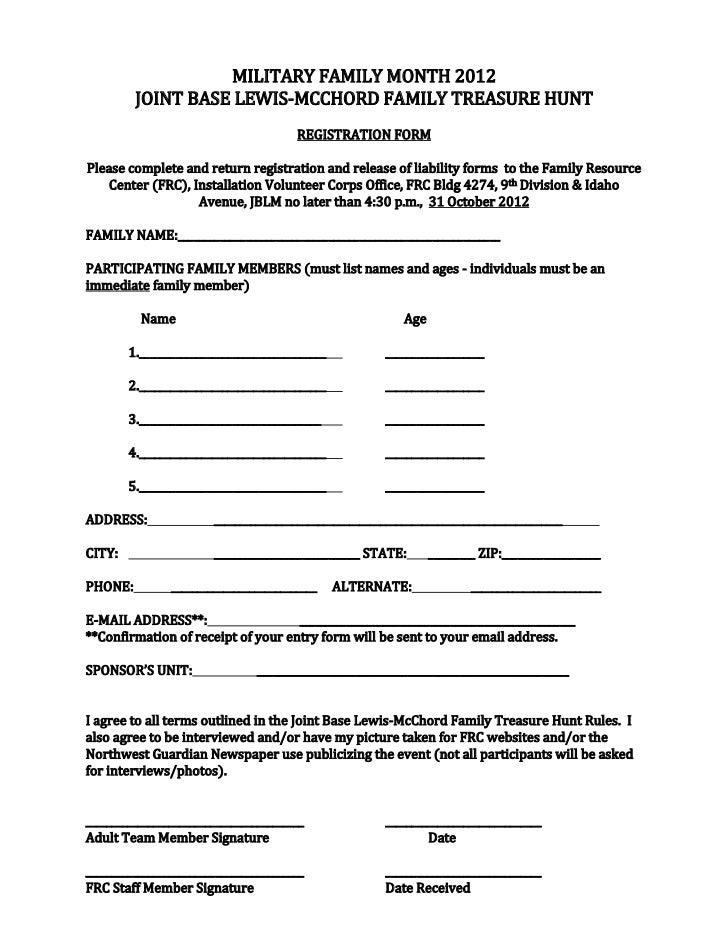 Treasure hunt entry form 12