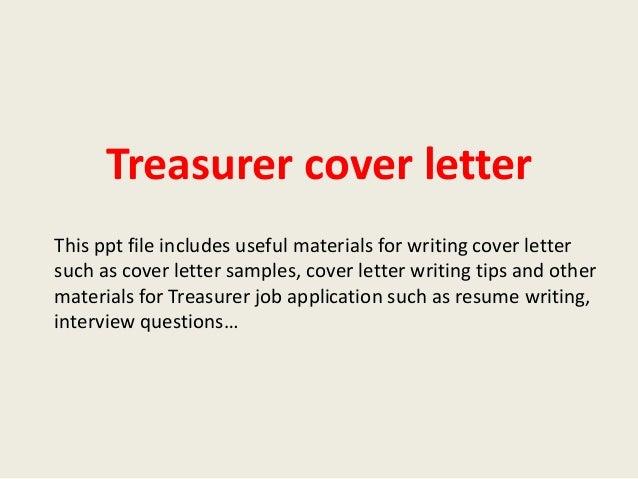 Treasurer Cover Letter