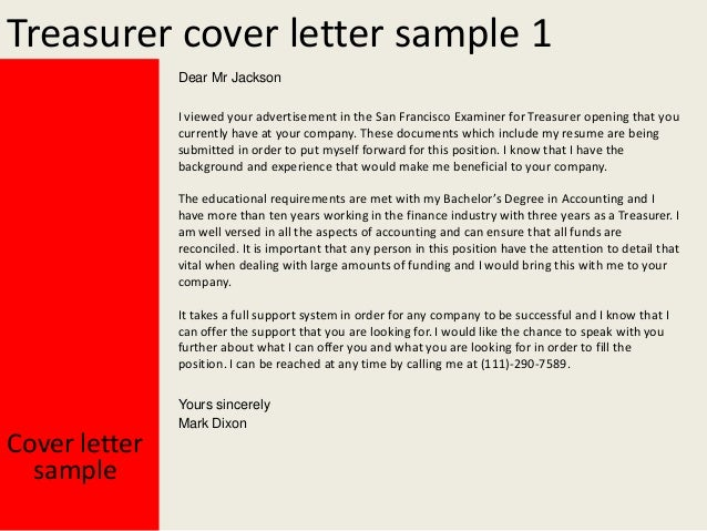 2. Treasurer Cover Letter Sample 1 Dear ...  What Do I Put In A Cover Letter