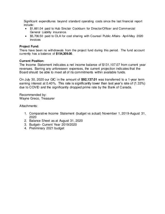 Treasurer report september 25 Slide 2