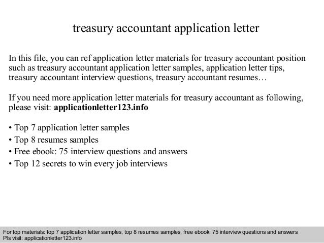 Treasury Accountant Application Letter In This File, You Can Ref Application  Letter Materials For Treasury ...