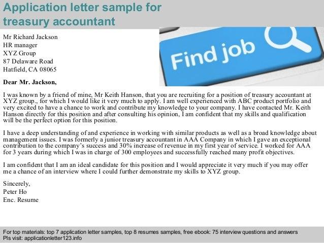Treasury accountant application letter